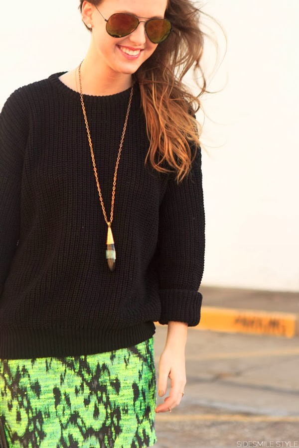 side smile style sweater skirt shoes bag