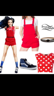 pants,overalls,red,suspenders,polka dots,dungarees,top,little mix,jade thirlwall,tank top