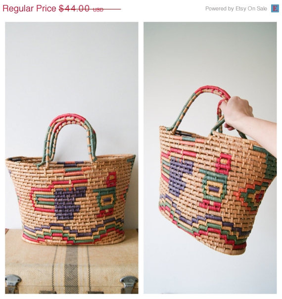ON SALE. Vintage Basket Tote. Woven Market by NewOldFashionVintage