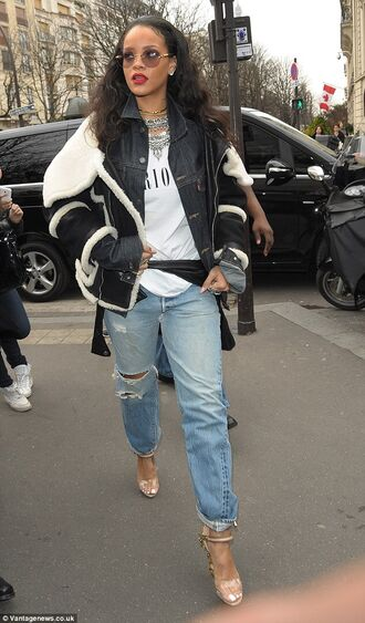 jacket rihanna white top denim jacket black jacket fur jacket round sunglasses ripped jeans boyfriend jeans jewels necklace statement necklace statement rihanna style rihanna jewelry jewelry celebrity style celebrity celebstyle for less