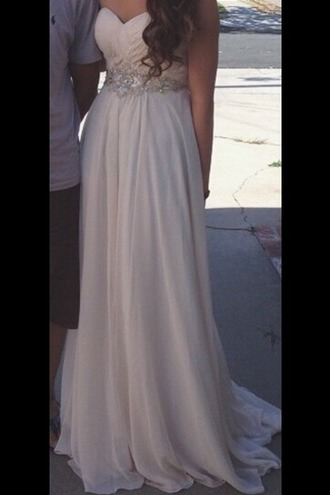 dress cream prom dress sweetheart neckline long dress