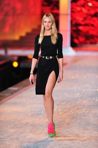 dress ldb little black dress candice swanepoel victoria's secret victoria's secret model belt black slit dress