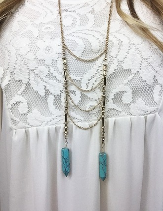 jewels ladder necklace turquoise long necklace
