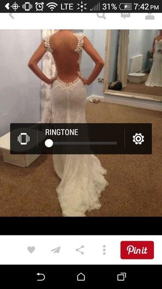 dress white lace dress open back dresses prom dress wedding dress lace dress white dress open back prom dress