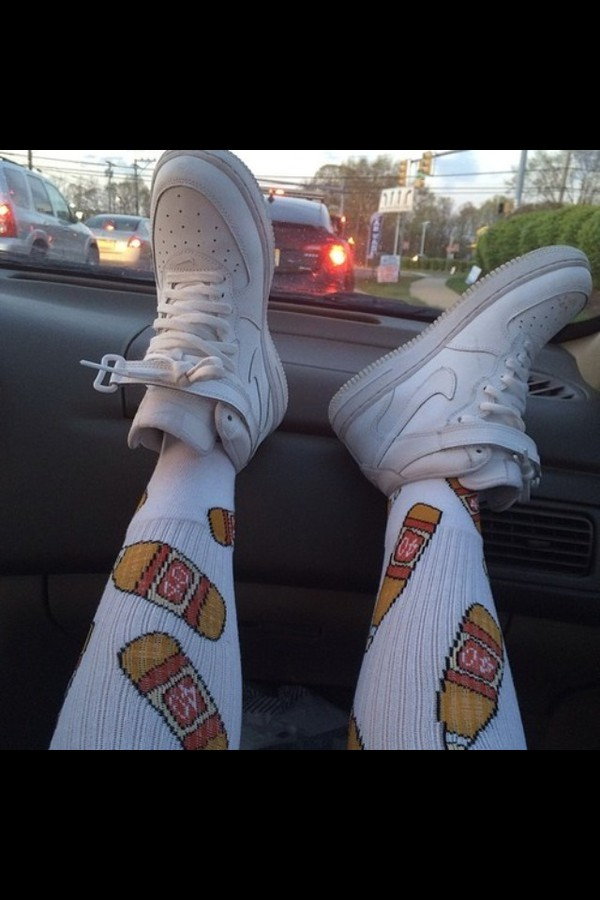 socks high water bottle cola 40 overknees hipster white white socks graphic socks cute dope trill dope socks trendy style alcohol shoes nike nike shoes white shoes nike air force 1 nike air force sneakers nike sneakers graphic tee