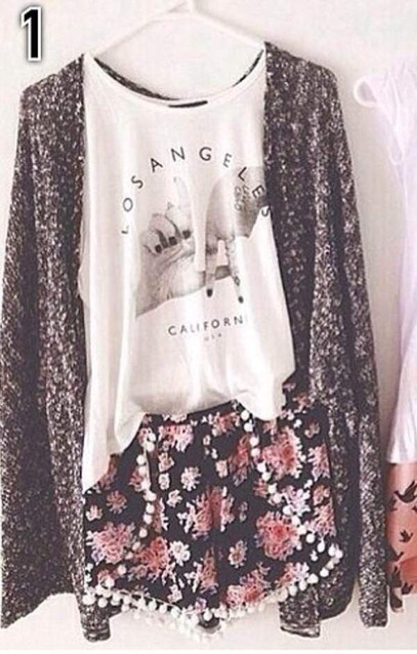 shorts cardigan cardigan big cardigan knitted cardigan tank top top flowers floral