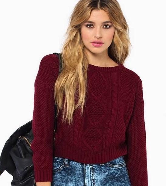 Maroon crop sweater