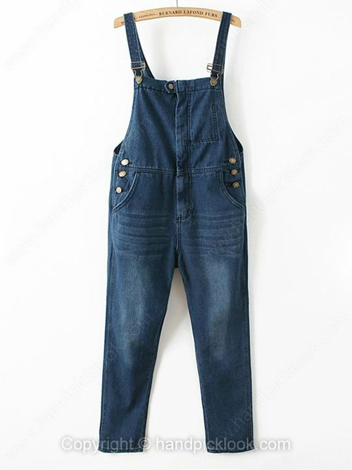 Blue Straps Sleeveless Bleached Denim Jumpsuit - HandpickLook.com