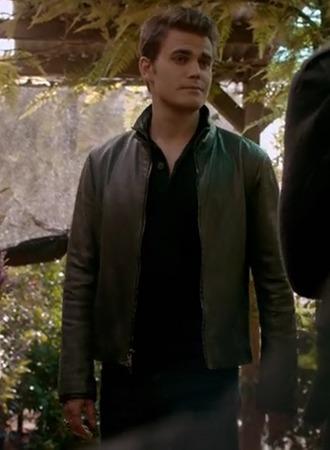 jacket stefan salvatore the vampire diaries paul wesley brown leather menswear black mens t-shirt
