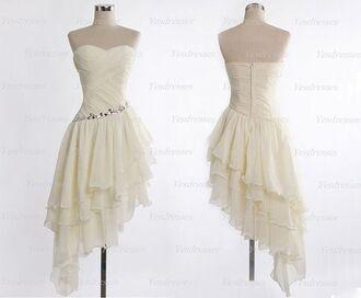 dress prom dress ivory ruffles jewels waist dress strapless white sweetheart dress asymmetrical short dress