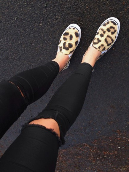 shoes leopard print jeans