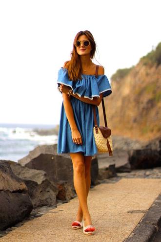 marilyn's closet blog blogger dress shoes bag sunglasses off the shoulder blue dress shoulder bag ruffle dress mini dress denim dress flats round sunglasses