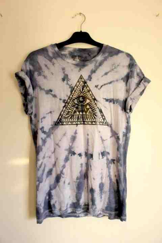 shirt washed tie dye t-shirt triangle triangles eye hipster hip rad bblue amazing multicolor