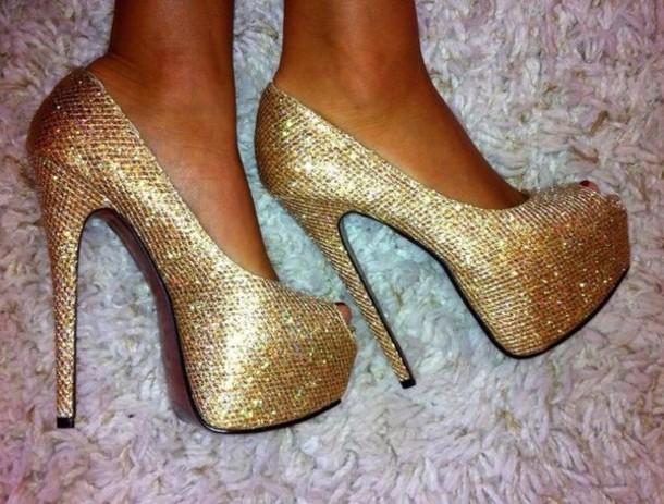 shoes heels glitter gold platform pumps high heel pumps