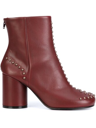 studded boots ankle boots red shoes