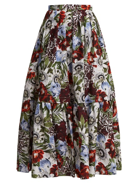 skirt floral cotton print red