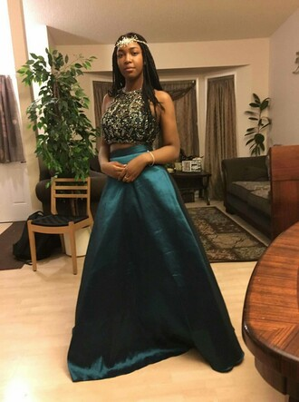 dress gold dark green prom prom dress emerald green long prom dress