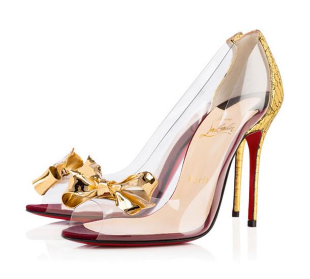 40f26ff73527 golden heels heels high heels gold bow loubs transparent shoes