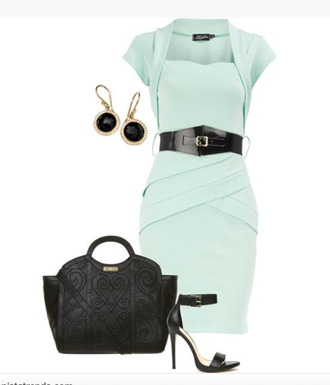 dress cap sleeves mint mint dress layered earrings bag purse textured purse heels high heels ankle strap ankle strap heels clothes outfit