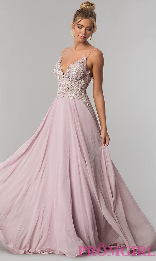 5f7b5fc34312 Long V-Neck Open-Back Chiffon Prom Dress by PromGirl