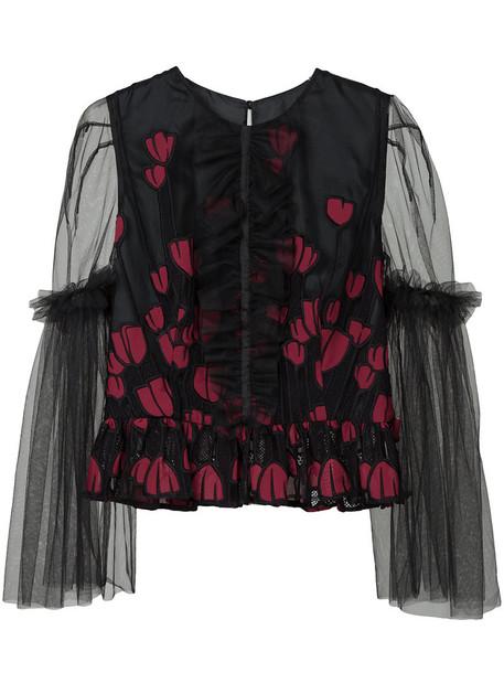 Ingie Paris - tule floral appliqué top - women - Silk - 40, Black, Silk