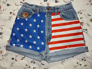 Re Worked American USA Flag Vintage Levi Denim Shorts UK Size 8 High Waist | eBay