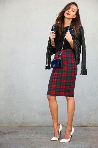 skirt red green plaid check skirt tartan skirt midi skirt bodycon