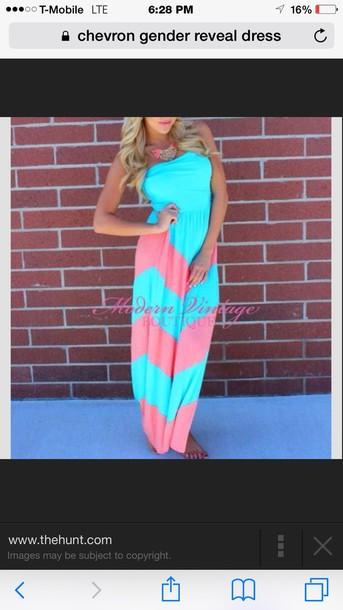 dress pink & blue gender reveal maxi dress