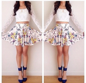 skirt blue shoes white shirt floral skirt lace crop top long sleeve shirt