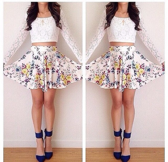 white blue shoes shirt floral skirt lace crop top long sleeve shirt skirt