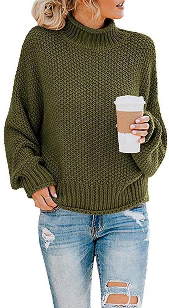 Doreyi Women's Oversized Sweater Long Sleeve Loose Warm Chunky Jumper Knitted Turtleneck Pullover Sweaters at Amazon Women's Clothing store