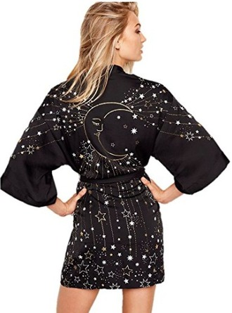 pajamas victoria's secret black robe magical short robe moon and stars robe wiccan