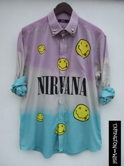 dress nirvana grunge shirt dip dye ombre