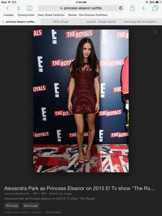 dress alexandra park actress the royals show red carpet e! online bordeaux burgundy dress