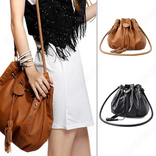 Shoulder Bags Women Lady Pu Leather Bucket Crossbody Messenger Bags Tassels Handbag Purse Hobo Black Brown Color Bag-in Shoulder Bags from Luggage & Bags on Aliexpress.com