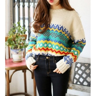 tribal pattern aztec sweater knitted cardigan fall outfits top t-shirt blouse winter sweater cute dress cute beige girly kawaii streetwear style clothes