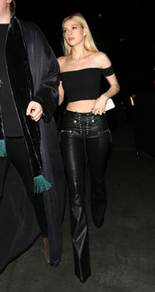 top,crop tops,off the shoulder,all black everything,pants,nicola peltz