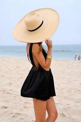 black dress hat little black dress black beach dress beach dress floppy hat big floppy hat big hat