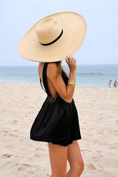 hat floppy hat black big hat dress little black dress black beach dress beach dress big floppy hat