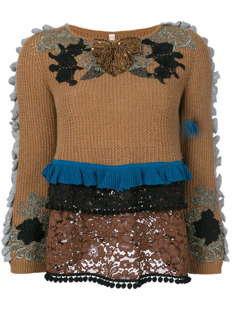Antonio Marras sweater embroidered women wool brown