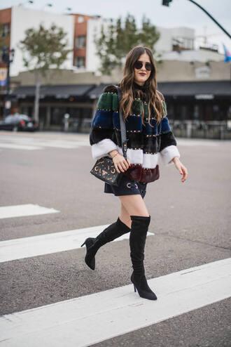 jacket tumblr fur jacket faux fur jacket skirt mini skirt black skirt boots black boots over the knee boots over the knee sunglasses