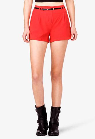 Crepe Woven Shorts w/ Belt | FOREVER21 - 2036437632