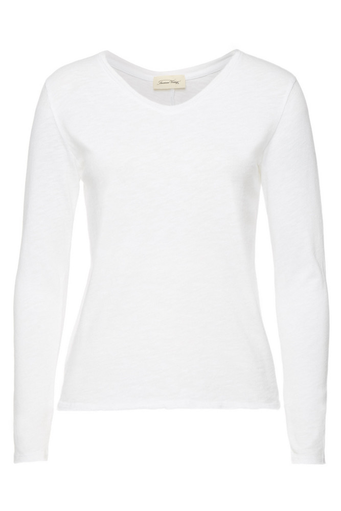 American Vintage Long Sleeved Cotton Top  in white