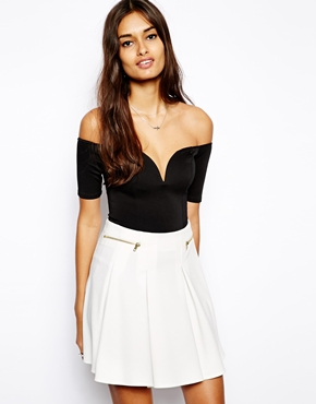 Oh My Love | Oh My Love Off Shoulder Plunge Neck Bodysuit at ASOS