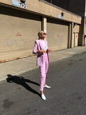 jacket,pink,pink blazer,blazer,pants,top,sunglasses,shoes