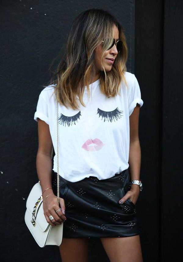 t-shirt white t-shirt lips eyes shirt