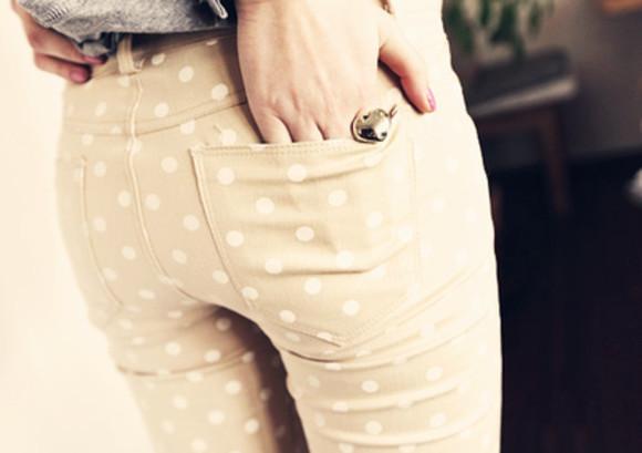 polka dots jeans pants beige