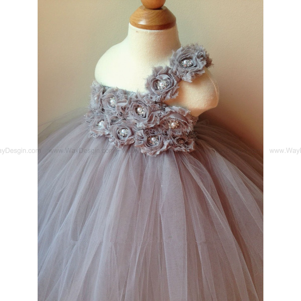 Flower girl dress gray tutu dress, chiffton roses, baby tutu dress, toddler tutu dress,newborn