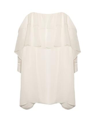 top ruffle lace silk white