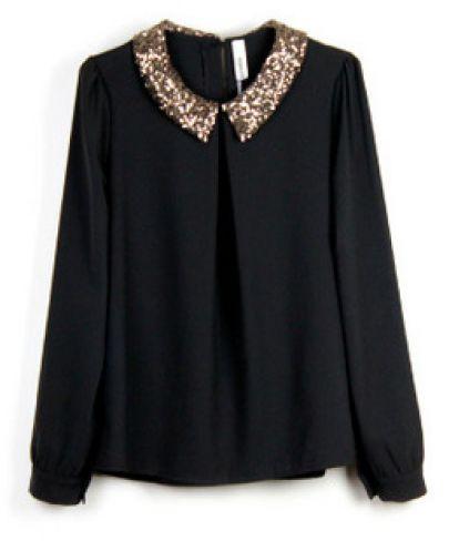 Black Sequin Tops Blouses Black Sequin Collar Blouse 30